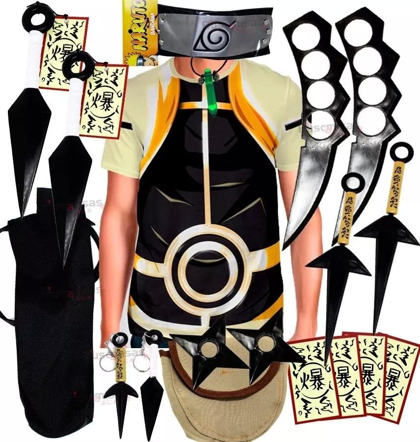 Kit Ninja Camisa Uniforme Naruto Kurama Kunai Colar Verde Shuriken Bandana Minato K74