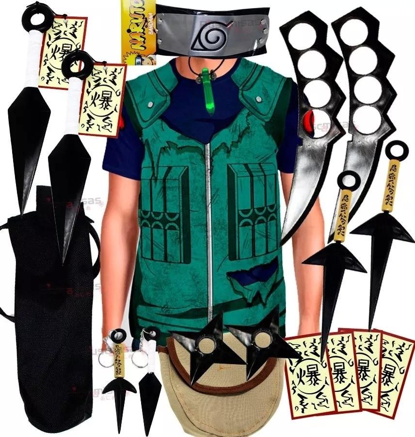 Kit Ninja Camisa Uniforme Kakashi Naruto Kunai Colar Verde Shuriken Bandana Minato K73