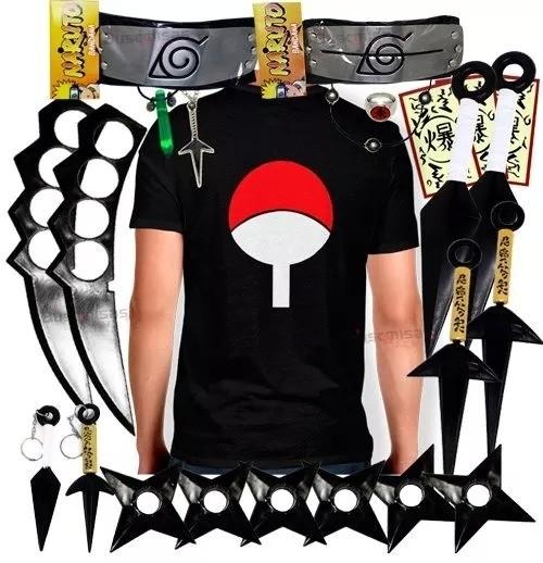 Kit Ninja Kunai Camisa Uchiha Naruto Anel Colar Shuriken Bandana Itachi K61