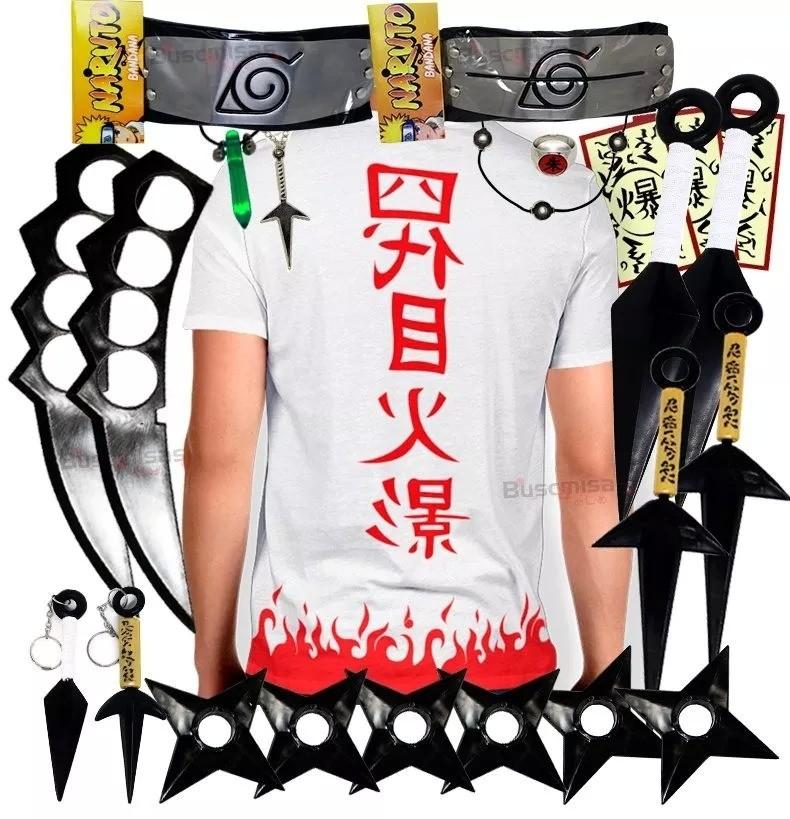 Kit Ninja Kunai Camisa Minato Naruto Anel Colar Shuriken Bandana Itachi K59