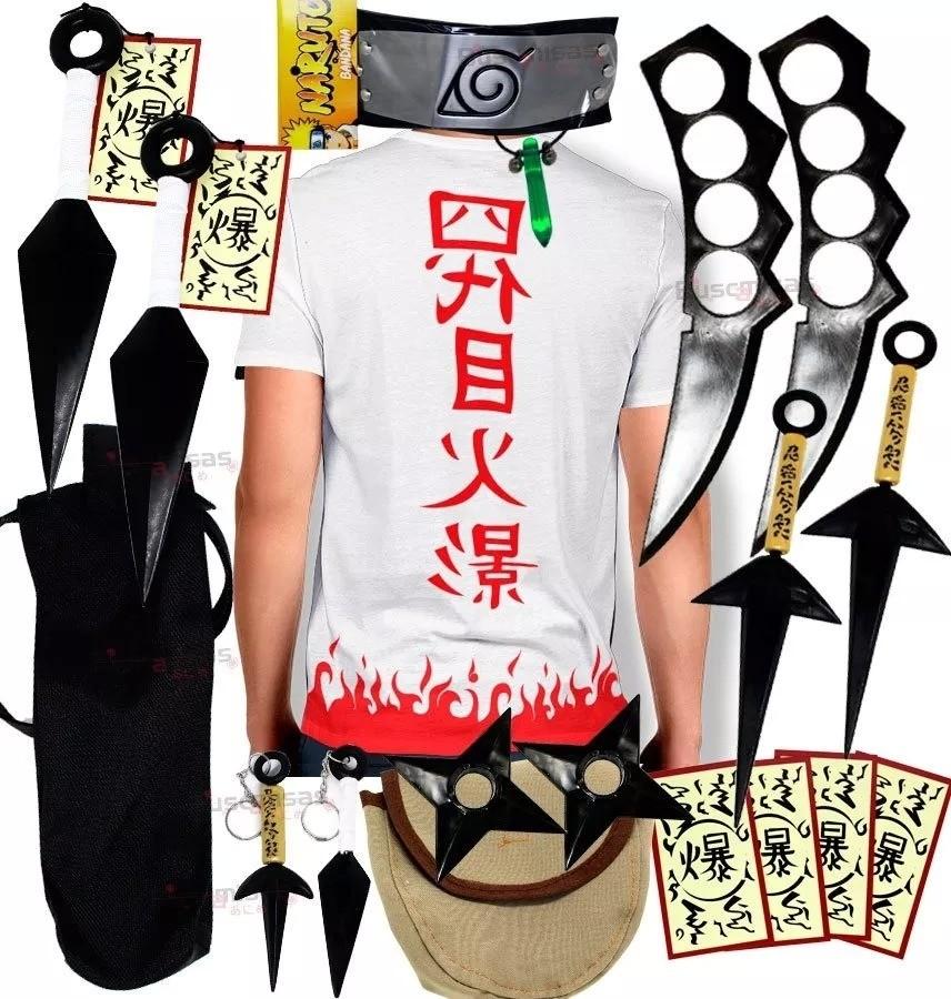 Kit Ninja Naruto Camisa Yondaime Kunai Colar Verde Shuriken Bandana Minato K68