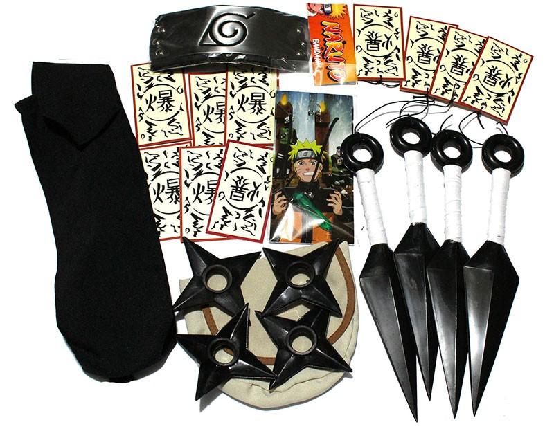 KIT Naruto Ultra Verde - Kunais Shurikens Porta Kunai e Shuriken Bandana Colar tags