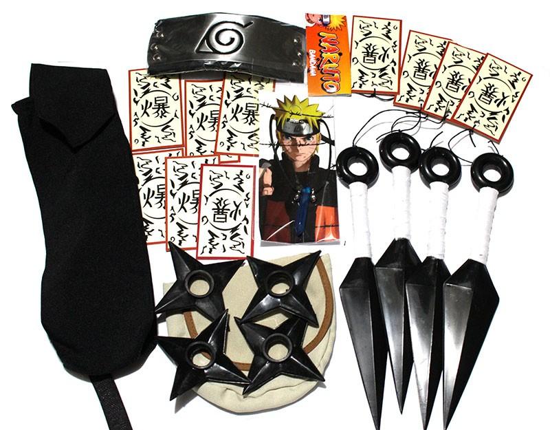 KIT Naruto Ultra Azul - Kunais Shurikens Porta Kunai e Shuriken Bandana Colar tags