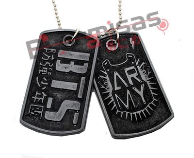 KPOP-18 - Colar Dog Tag Dupla Army BTS (BangTan Boys) - K-Pop