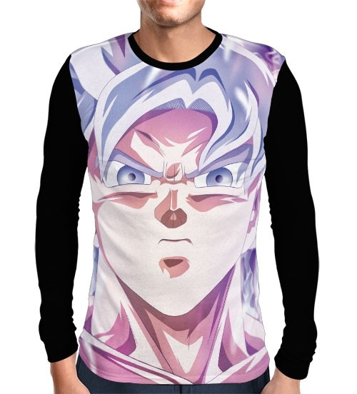 Camisa Manga Longa Face Goku Instinto Perfeito - Dragon Ball Super