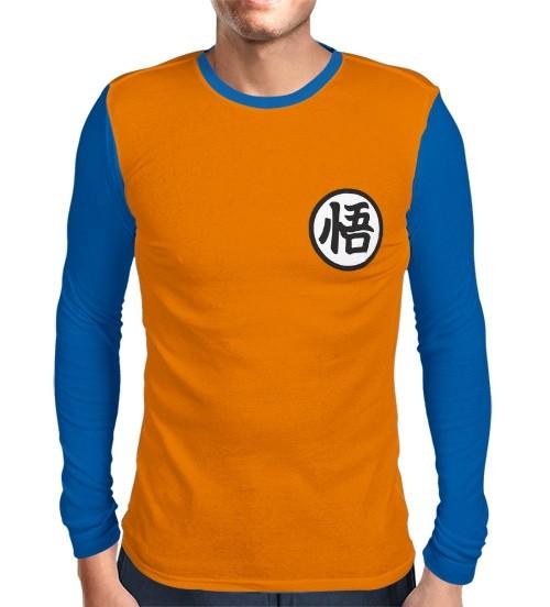 Camisa Manga Longa Azul Kimono Goku - Dragon Ball