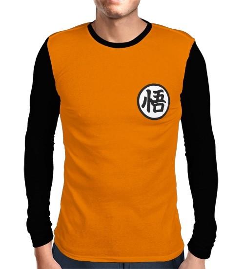 Camisa Manga Longa Preta Kimono Goku - Dragon Ball