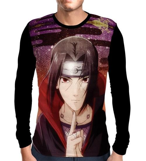 Camisa Manga Longa Face Itachi- Naruto