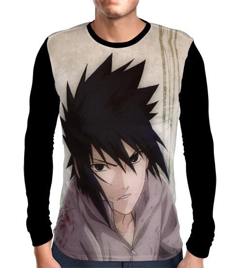 Camisa Manga Longa Face Sasuke - Naruto