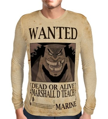 Camisa Manga Longa Print WANTED BARBA NEGRA MARSHAL D TEACH V2 - ONE PIECE