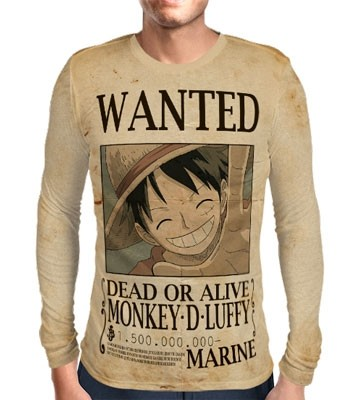 Camisa Manga Longa Print WANTED MONKEY D LUFFY V2 - ONE PIECE