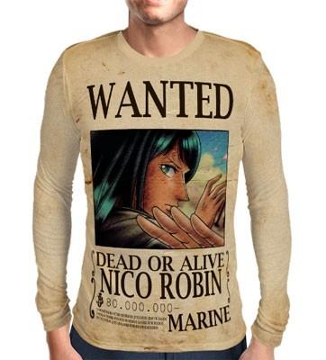 Camisa Manga Longa Print WANTED Nico Robin V1 - ONE PIECE