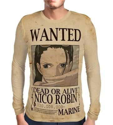 Camisa Manga Longa Print WANTED Nico Robin V2 - ONE PIECE