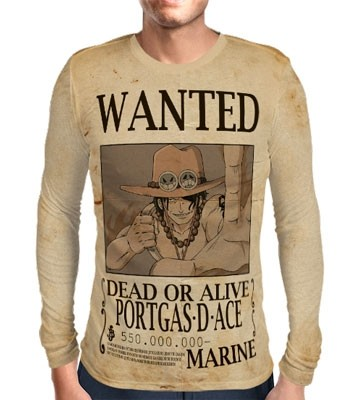 Camisa Manga Longa Print WANTED PORTGAS D ACE - ONE PIECE