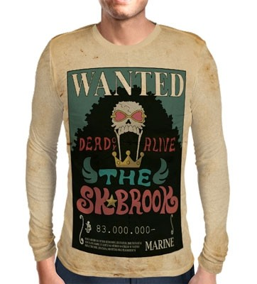 Camisa Manga Longa Print WANTED THE SOUL KING BROOK - ONE PIECE