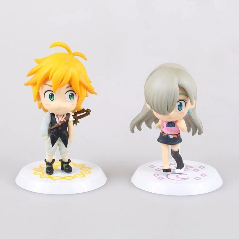 Kit 2 Mini Action Figures - Meliodas e Elizabeth - Nanatsu no Taizai