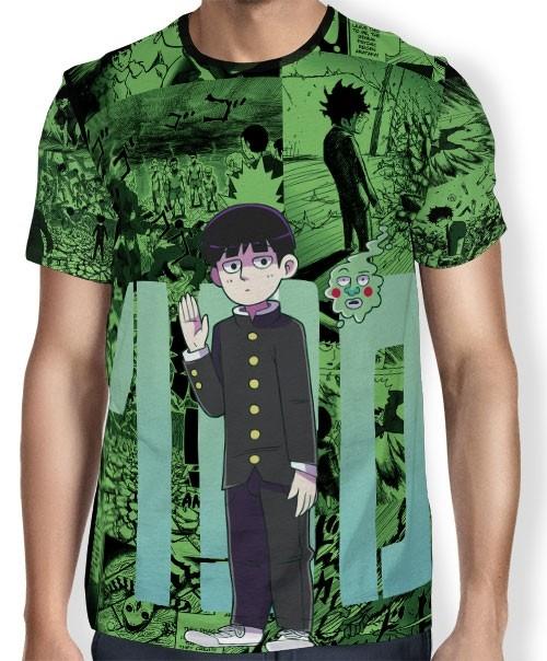 Camisa FULL Print Green Manga Especial - Mob Psycho 100