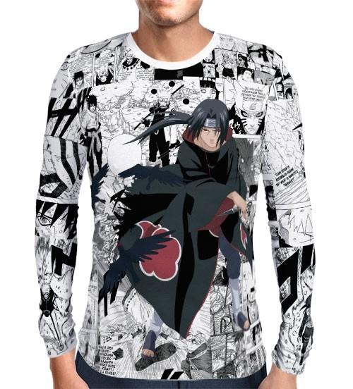 Camisa Manga Longa Print Manga Itachi - Naruto