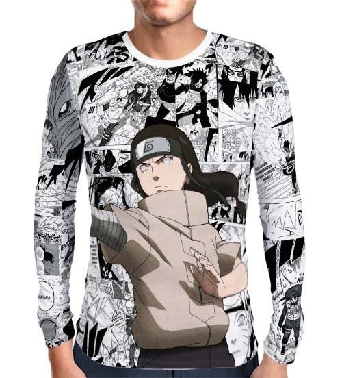 Camisa Manga Longa Print Mangá Neji Hyuga Modelo 1 - Naruto