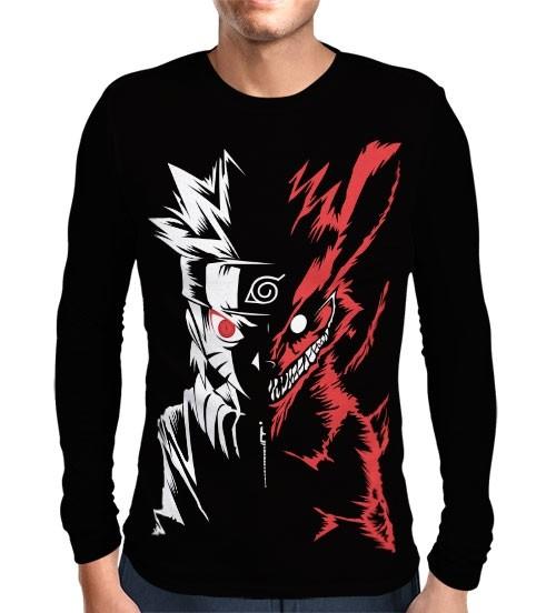 Camisa Manga Longa Naruto Modo Kyuubi