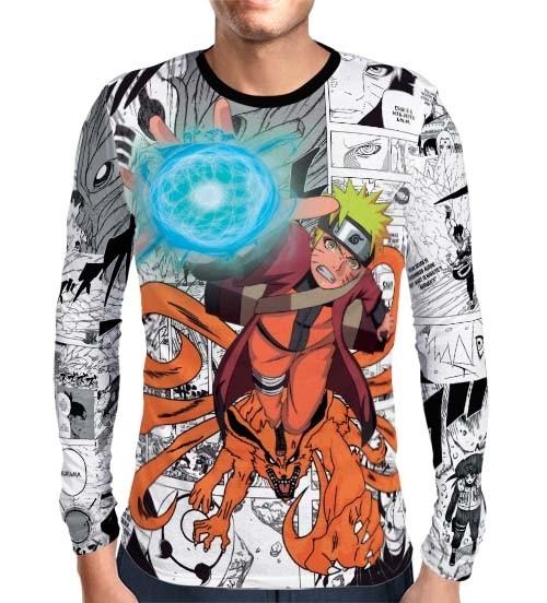 Camisa Manga Longa Naruto Mangá