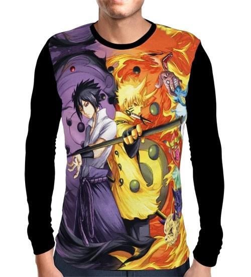 Camisa Manga Longa Rikudou Naruto e Sasuke