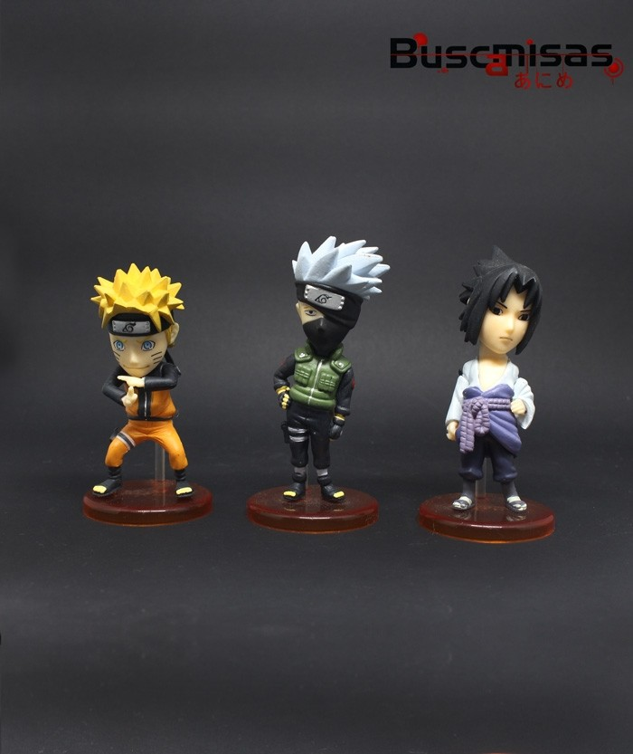 Kit 3 Action Figures Mini Naruto, Kakashi e Sasuke