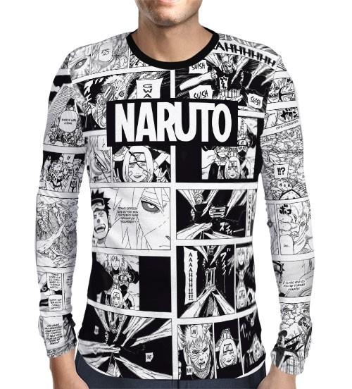 Camisa Manga Longa Mangá Nome - Naruto