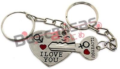 NRD-13(CH) - Chaveiro Duplo Coração e Chave I Love You