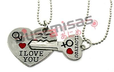 NRD-13 - Colar Duplo Coração e Chave I Love You