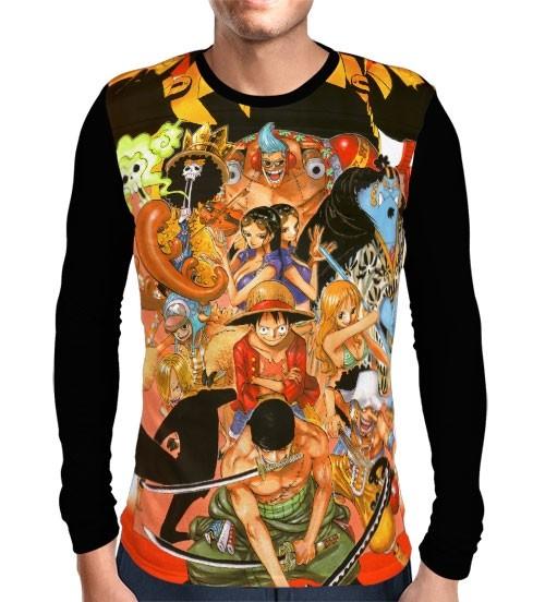 Camisa Manga Longa Chapéu de Palha - One Piece