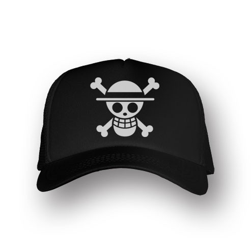 Boné Trucker Caveira Luffy - One Piece - Preto