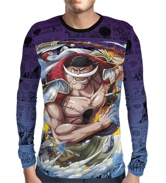 Camisa Manga Longa Print Purple Mangá Barba Branca - One Piece
