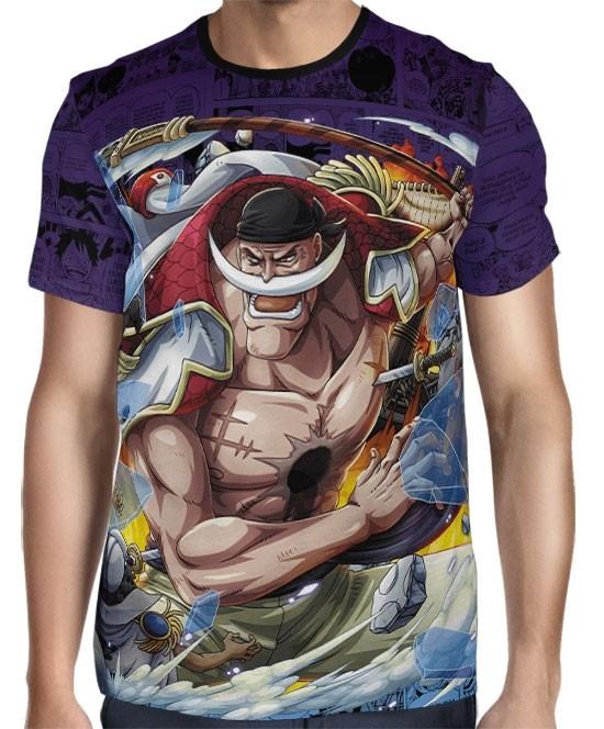 Camisa Full Print Purple Mangá Barba Branca - One Piece