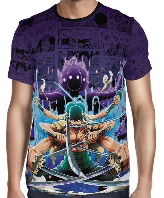 Camisa Full Print Purple Mangá Zoro - One Piece