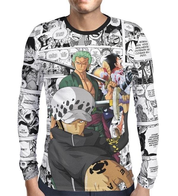 Camisa Manga Longa PRINT Law, Zoro e Luffy - One Piece