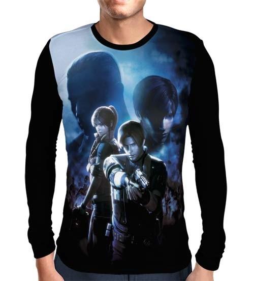 Camisa Manga Longa Leon e Claire - Resident Evil