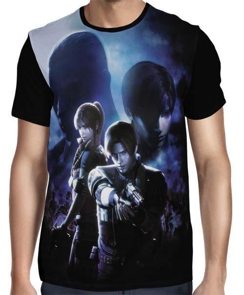 Camisa FULL Leon e Claire - Resident Evil