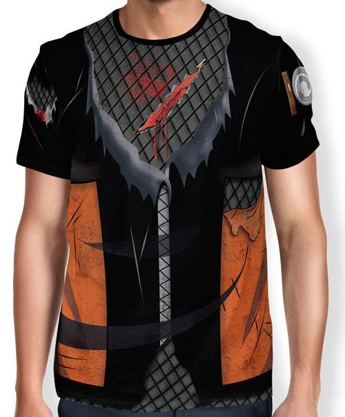 Camisa Full Print Colete Roupa Uniforme Cosplay Naruto