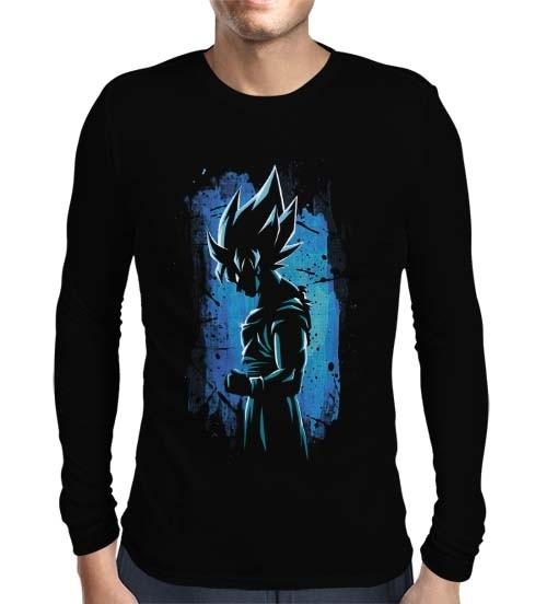 Camisa Manga Longa Silhouette Blue Goku - Dragon Ball