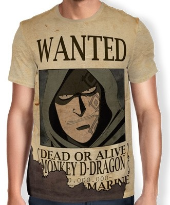 Camisa Full Print Wanted MONKEY D DRAGON - One Piece
