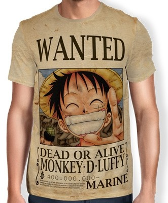 Camisa Full Print Wanted MONKEY D LUFFY V1 - One Piece