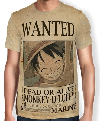 Camisa Full Print Wanted MONKEY D LUFFY V2 - One Piece