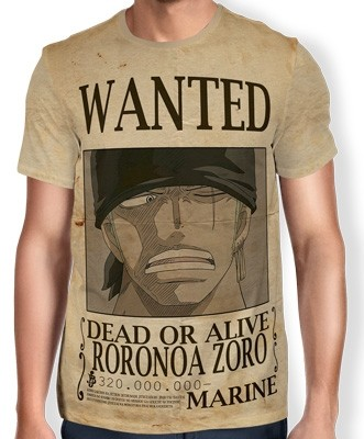 Camisa Full Print Wanted Roronoa Zoro V2 - One Piece