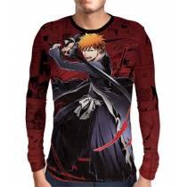 Camisa Manga Longa Mangá Red - Ichigo - Bleach