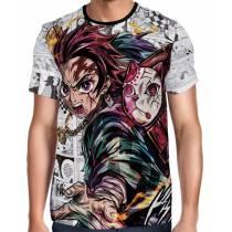 Camisa Full PRINT Mangá Kimetsu no Yaiba - Tanjiro Exclusiva