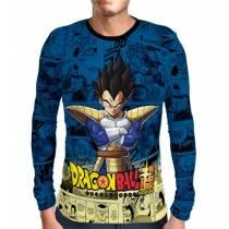 Camisa Manga Longa Blue Mangá Vegeta - Dragon Ball