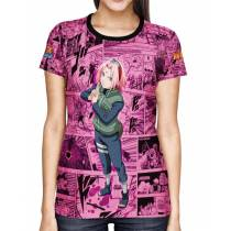 Camisa FULL Print Pink Mangá Sakura - Naruto