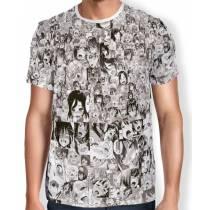 Camisa Full Print AHEGAO Especial - Preta e Branca