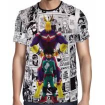 Camisa Full PRINT Mangá All Might e Midoriya - Boku No Hero Academia